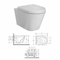 RAK Rimless Wall Hung Toilet Pan SLIMLINE Seat Dual Flush Cistern Adjust Frame