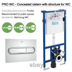 RAK Rimless Wall Hung Toilet, Seat & ROCA 1.12m Concealed Cistern Frame WC Unit