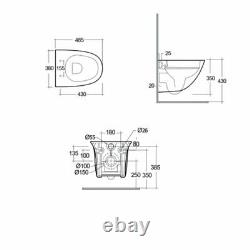RAK Sensation Mini Rimless Wall Hung Toilet 485mm Projection Soft Close