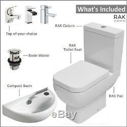 RAK Series 600 WC Toilet & Wall Hung Basin Compact Cloakroom Bathroom Suite