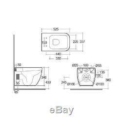 RAK Wall Hung Pan WC Toilet Metropolitan & Concealed Cistern Frame Dual Flush