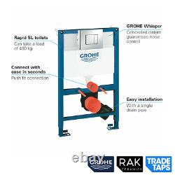 RAK Wall Hung Rimless Toilet NAVY Vanity Unit & Basin GROHE Dual Flush Cistern
