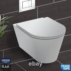 RAK Wall Hung Rimless Toilet WHITE Vanity Unit & Basin GROHE Dual Flush Cistern