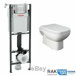 RAK Wall Hung Toilet Pan, Seat WIRQUIN Concealed Cistern Frame WC Unit White