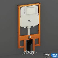 RAK Wall Hung Toilet Pan Slimline Front Flush Concealed Cistern Frame 80mm Thick