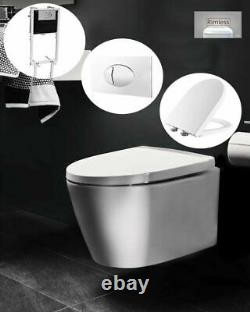 RAK Wall Hung Toilet Rimless Pan Soft Close Seat Concealed Cistern Frame WC Unit