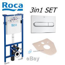 ROCA WC DUPLO PRO CONCEALED FRAME + ROCA PL1 DUAL FLUSH PLATE + WC BEND 3in1 SET