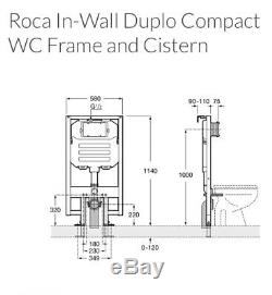 ROCA Wall Hung DUPLO WC COMPACT Toilet Frame Concealed Cistern A890080020 New