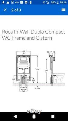 ROCA Wall Hung DUPLO WC COMPACT Toilet Frame Concealed cistern