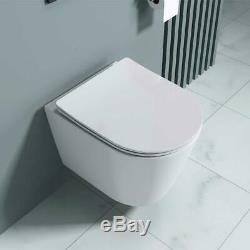 Rimless Toilet Bathroom White Wall Hung With Soft Close Toilet Seat Easy Clean