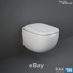 Rimless Wall Hung Toilet Pan RAK Ceramics Illusion Soft Close Toilet Seat WC