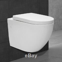 Rimless toilet pan ceramic back to wall soft close seat wall hang toilet WC bowl