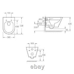 Roca 0.82m Concealed Cistern Wc Frame Galaxy Blade Rimless Wall Hung Toilet Pan