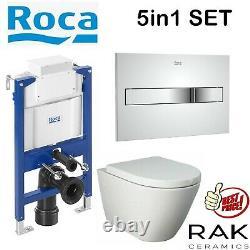 Roca 0.82m Concealed Cistern Wc Frame Rak Resort Rimless Wall Hung Toilet Pan