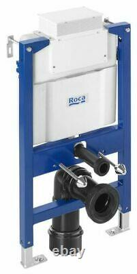 Roca 0.82m Concealed Cistern Wc Frame With Black Rimless Wall Hung Toilet Pan