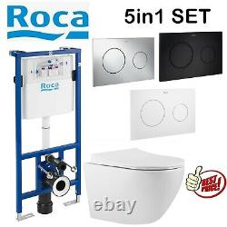Roca Duplo 1.12m Concealed Cistern Wc Frame With Rimless Wall Hung Toilet Pan