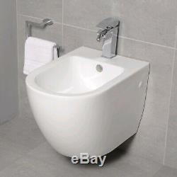 Round Wall Hung Bidet White Ceramic One Central Tap Hole Douche Bathroom Hygiene