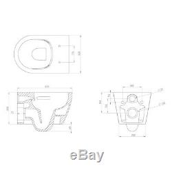 Saneux Wall Hung Slim Cistern Frame Matte Black Flush Plate D Rimless Toilet Pan