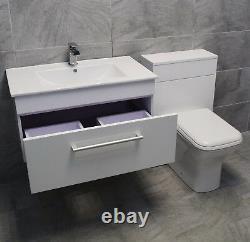 Savu 800mm Wall Hung Basin Unit + WC Unit Toilet Set White Gloss