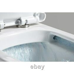 Square Rimless Wall Hung Mount Toilet wc pan Soft Close slim Seat Frame Cistern