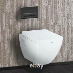 Square Short Projection Soft Close Wall Hung Toilet Cistern Frame Flush Plate