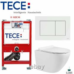 TECE WC SHORT FRAME 82cm FLUSH PLATE COMPACT RIMLESS WALL HUNG TOILET SOFT CLOSI