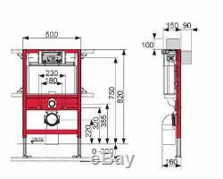 TECE WC SHORT FRAME 82cm +FLUSH PLATE + RIMLESS WALL HUNG TOILET SOFT CLOSING