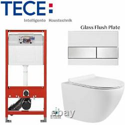 Tece Toilet Frame +glass Flush Plate + Wall Hung Compact Rimless Wc Soft Closing