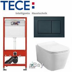 Tece Wc Toilet Frame1.12+chrome Flush Plate+wall Hung Rimless Wc+soft Close Seat