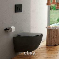 Toilet Pan Wall Hung Short Projection Including Seat Anthracite Matt Creavit
