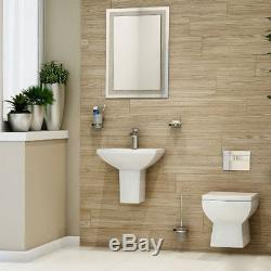 Toilet WC Basin Bathroom Suite Wall Hung BTW 460mm Semi Pedestal 2 Two Piece Pan
