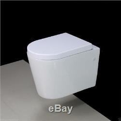 Toilet WC Bathroom Wall Hung Mounted Concealed Frame Ceramic Soft C Seat W4 KL