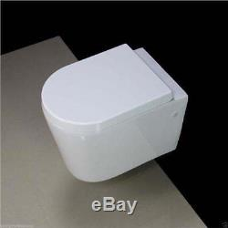 Toilet WC Wall Hung Concealed Frame Ceramic Soft Closing Seat Push Button WH76