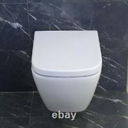 Toilet WC Wall Hung Mounted Cloakroom Heavy duty Soft Closing Seat Round PERRY