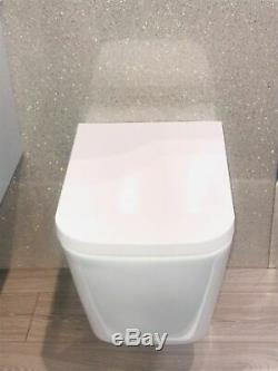 Toilet WC Wall Hung Mounted Cloakroom Square Wrap Over Soft Close