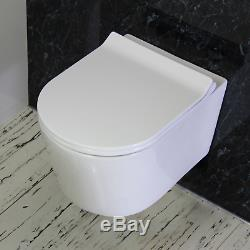 Toilet WC Wall Hung Mounted Cloakroom round pan Soft Close Slim Seat W4