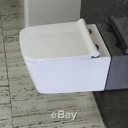 Toilet WC Wall Hung Mounted Square Ceramic Bathroom Soft Closing Seat W5