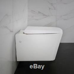 Toilet WC Wall Hung Mounted Square Concealed Frame Soft Close Seat Bathroom
