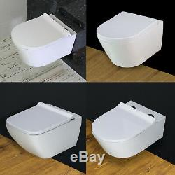 Toilet WC Wall Hung Mounted Square Round Cloakroom Soft Closing Seat 15/03/2020