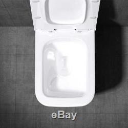 Toilet Wall Hung Ceramic Ultra Slim Soft Close Seat Bathroom WC
