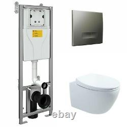 Toilet Wc Frame + Rimless Wall Hung Toilet Pan With Soft Close Seat Set