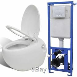 Uniquely Design Egg-Shaped Soft-close Wall-Hung Toilet with Concealed Cistern UK