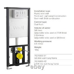 VITRA Universal Concealed Wall Hung WC Toilet Cistern Frame & Dual Flush Plate