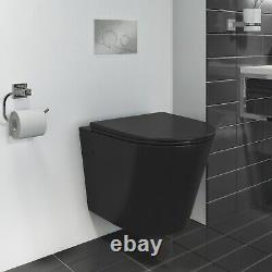 Verona Matt Black Rimless Wall Hung Toilet with Soft Close Seat