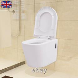 VidaXL Toilet Bathrooms Wall Hung Rimless Ceramic Toilets Soft Close Seat White