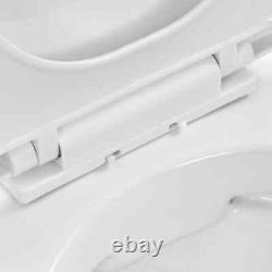 VidaXL Wall Hung Rimless Toilet Ceramic Bathroom Suspended Seat White/Black