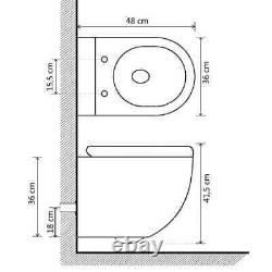 VidaXL Wall Hung Rimless Toilet With Bidet Function Ceramic White Sleek Toilet