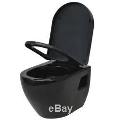 VidaXL Wall-Hung Toilet Bathroom WC with Soft-close Seat Ceramic Black Compact
