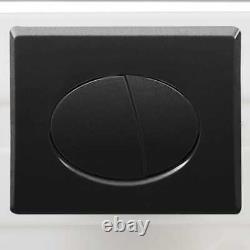 VidaXL Wall Hung Toilet Black WC Pan Soft Close Seat Ceramic Concealed Cistern