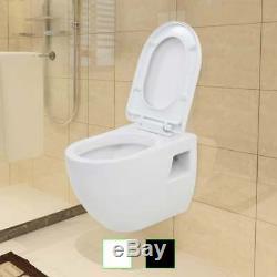 VidaXL Wall-Hung Toilet Ceramic Bathroom Furniture WC Seat Fixture White/Black